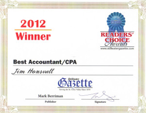 James M. Honsvall Account and Tax preparation wins the Best Accountant/CPA award form the Stillwater Gazette